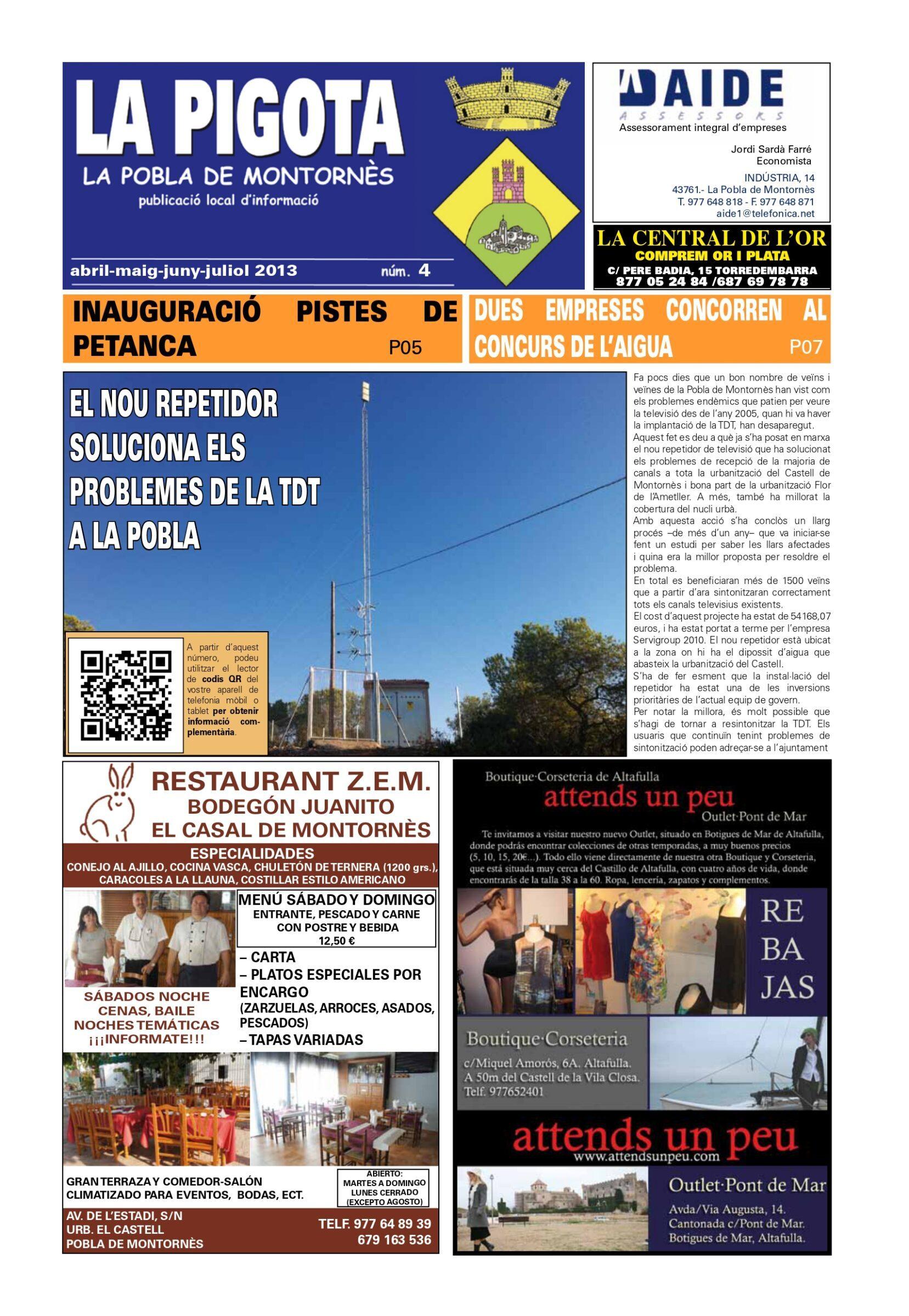 Revista La Pigota núm. 4 (Abril, Maig, Juny i Juliol 2013)