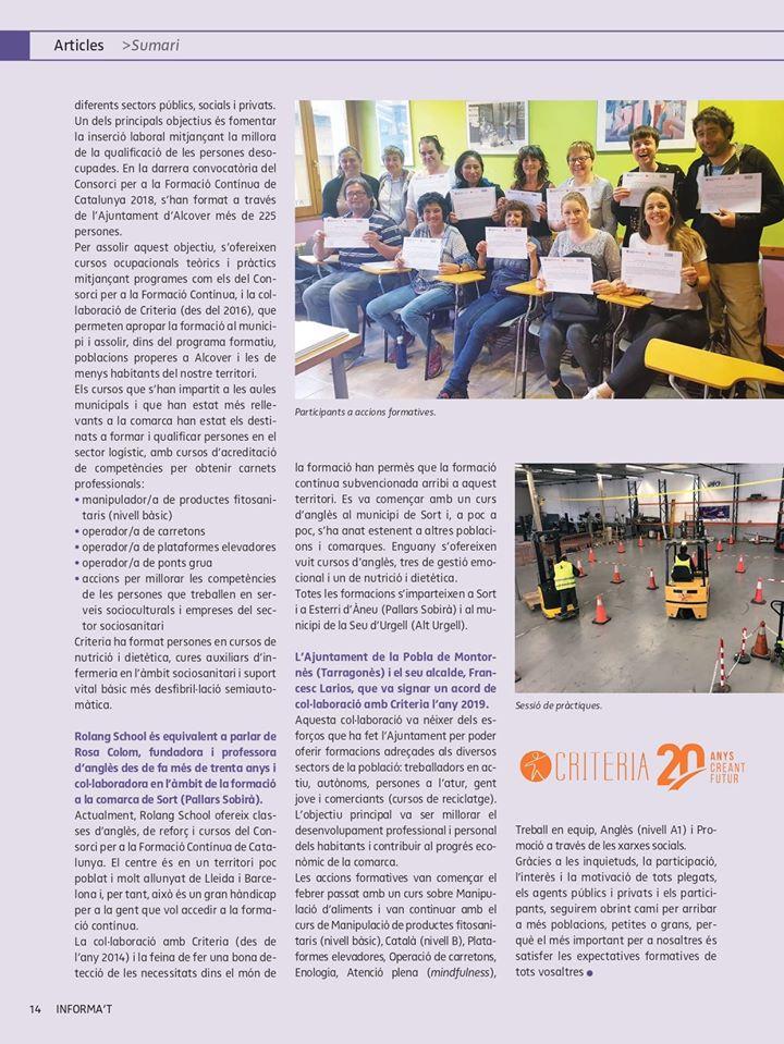 La revista 'Informa't' es fa ressò de l'acord de col·laboració en cursos de formació entre Criteria i l'Ajuntament de la Pobla de Montornès