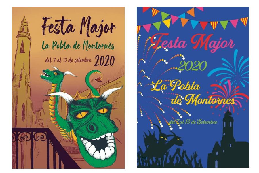 Dissabte coneixerem quin d'aquests dos cartells és l'oficial de la Festa Major de la Pobla de Montornès 2020