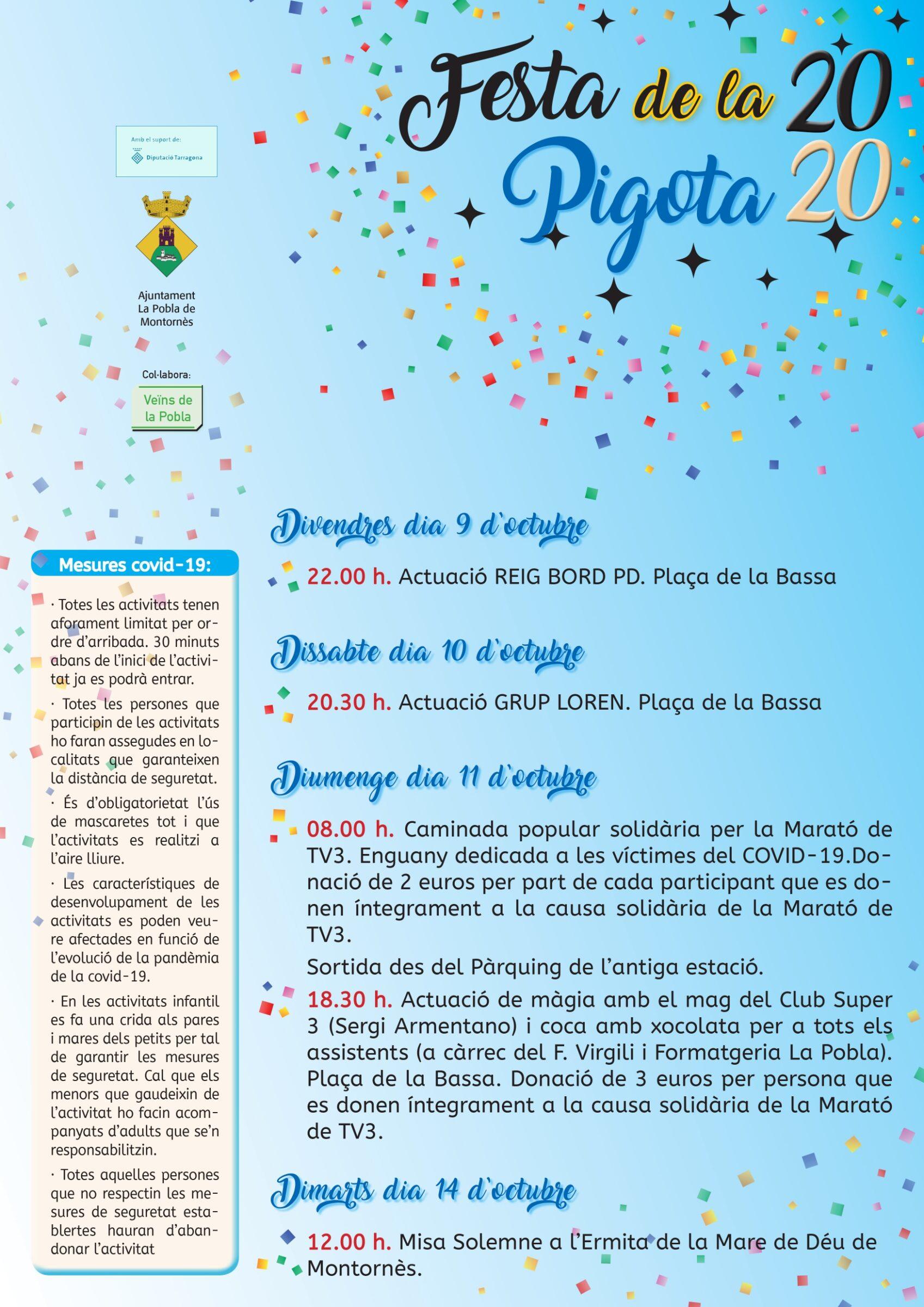 Programa de la Festa de la Pigota 2020