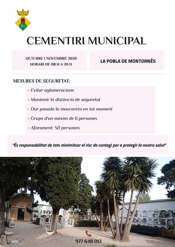 Horaris especials de Tots Sants al cementiri municipal