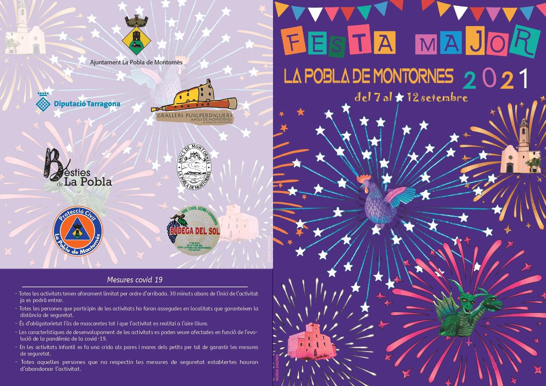 Programa de la Festa Major de la Pobla de Montornès 2021